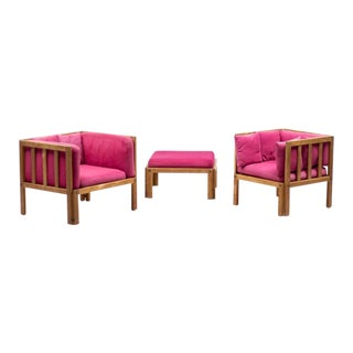 Scandinavian Architectural Lounge Chairs and Stool