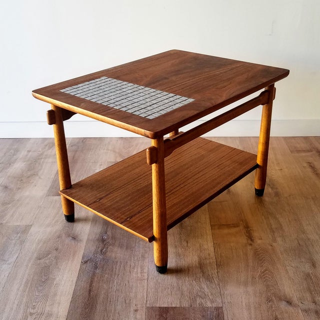 1960s Lane Two-Tiered Side Table With Mosaic Tile Inlay For Sale - Image 13 of 13