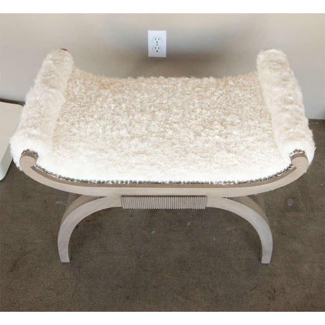 Customizable Paul Marra Neoclassical Bench in Curly Goat - Image 4 of 8