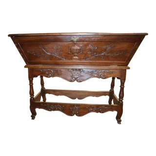 Antique French Provincial Carved Petrin/Dough Box For Sale