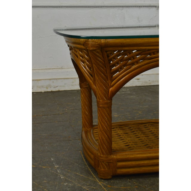 Crate & Barrel Crate & Barrel Glass Top Rattan Side Table For Sale - Image 4 of 13