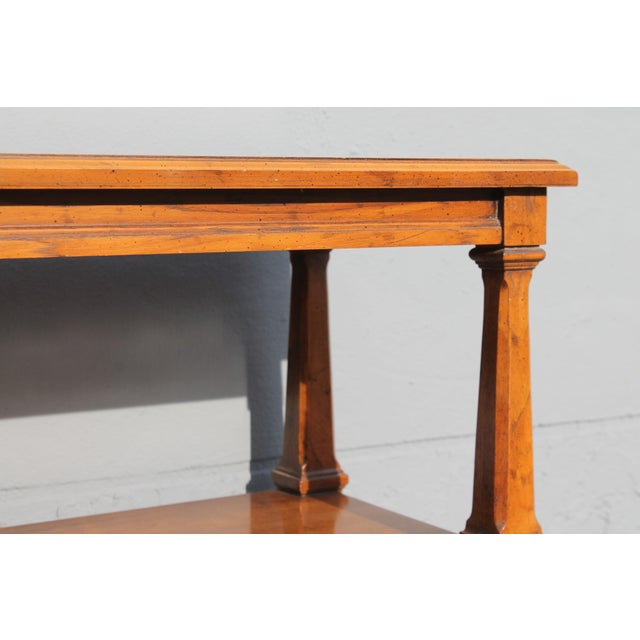 1960s Traditional Walnut 2 Drawer Hall Console Table For Sale - Image 11 of 13