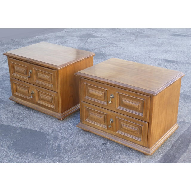 Mid Century Modern Drexel Two Drawer Solid Wood Nightstands - a Pair - Image 2 of 11
