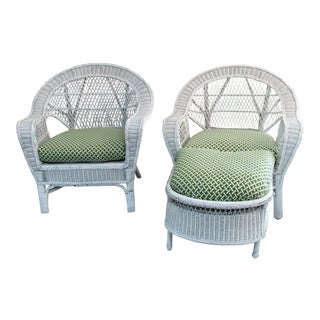 1960s Vintage White Wicker Chairs & Ottoman- 3 Pieces For Sale