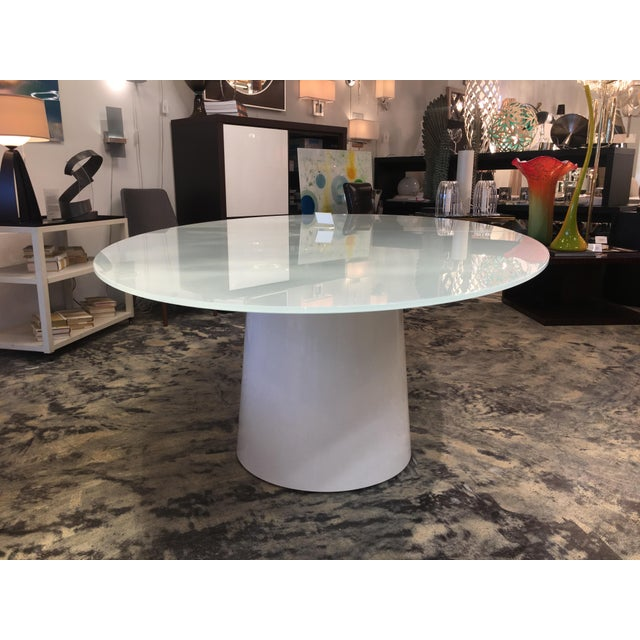 Antares Italian Oval Glass White-Lacquer Base Table For Sale - Image 4 of 10