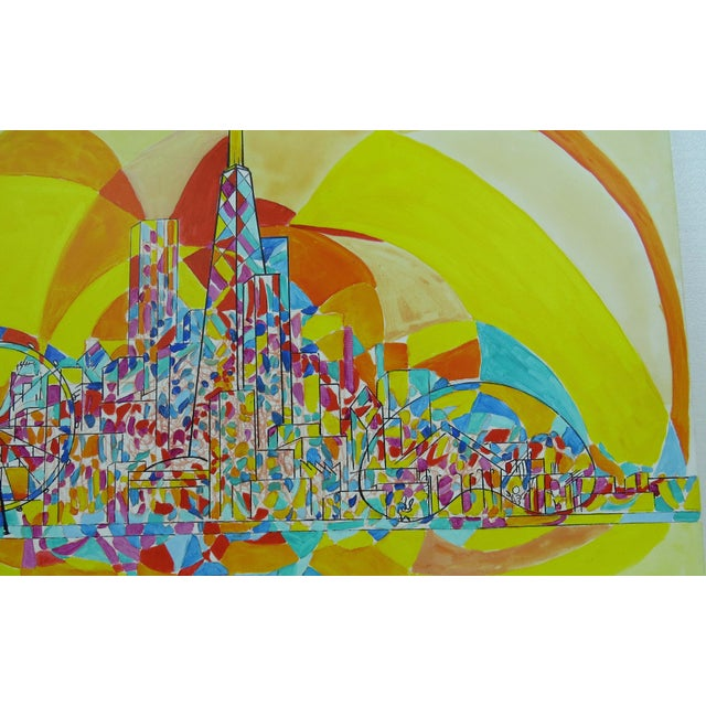 2013 Pia Bacca Post Impressionist Oil on Canvas of Chicago Cityscape For Sale - Image 4 of 9