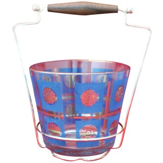 Mid-Century Glass Ice Bucket With Goldtone Metal Carrier