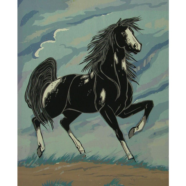 1970s Black & White Horse Serigraph - Image 1 of 3