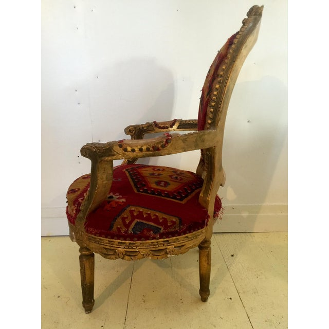 Blue Amazing French Arm Chair Covered in an Antique Turkish Kilim Fabric For Sale - Image 8 of 11