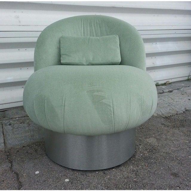 Aluminum 1970's Hollywood Regency Green Swivel Vanity Chair For Sale - Image 7 of 8