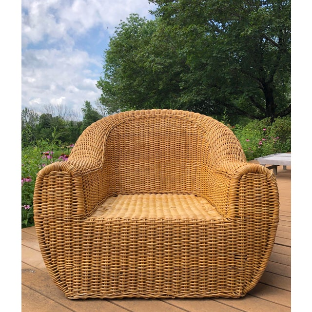 Boho Chic Vintage Wicker Orb Chair For Sale - Image 3 of 13