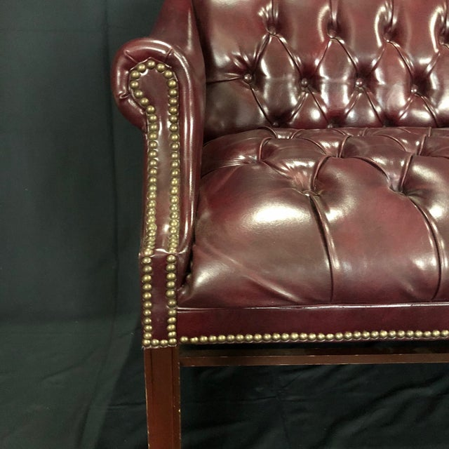 British Chesterfield Burgundy Leather Bench Loveseat For Sale - Image 4 of 10