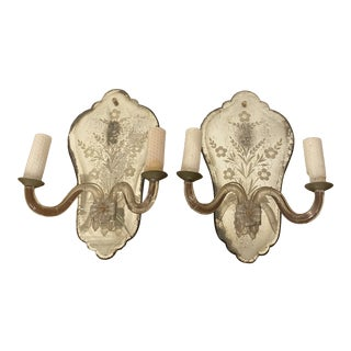 Antique Venetian Glass Mirrored Sconces - a Pair For Sale
