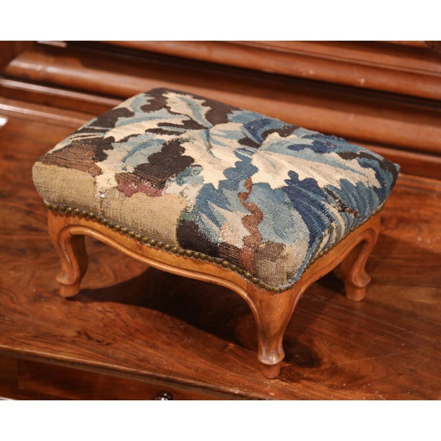 Late 19th Century 19th Century French Carved Walnut Footstool with 18th Century Aubusson Tapestry For Sale - Image 5 of 9