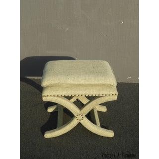 Vintage Sage Green Ottoman Savanrola X Style Bench As-Is Preview
