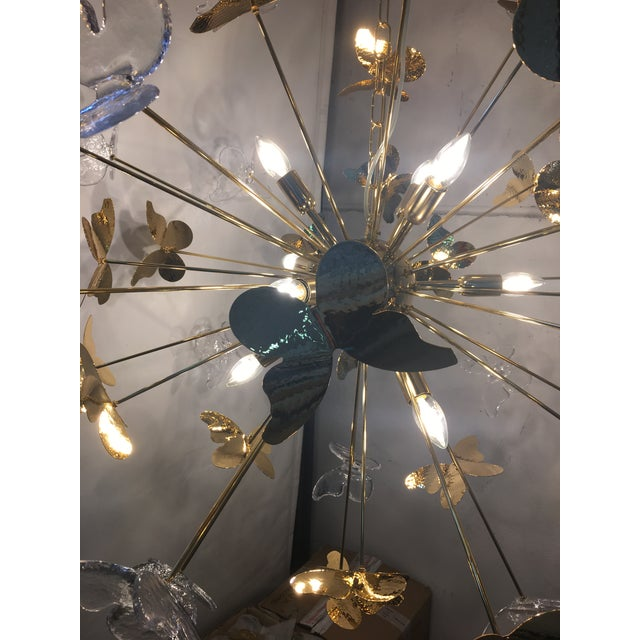 2010s Italian Hand Made Gold 24k Butterfly Sputnik Chandelier For Sale - Image 5 of 13