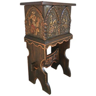 20th Century Carved and Polichromed Cabinet Bar on Stand Varqueno, Buffet, Spain For Sale