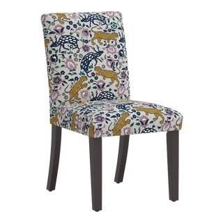 Dining Chair in Leopard Mustard Plum Fabric For Sale