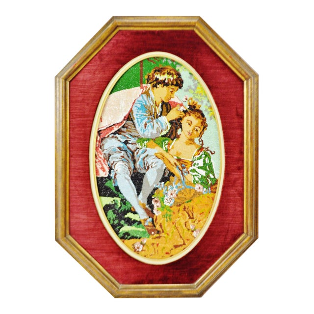 Vintage Victorian Style Framed Beaded Needlepoint For Sale
