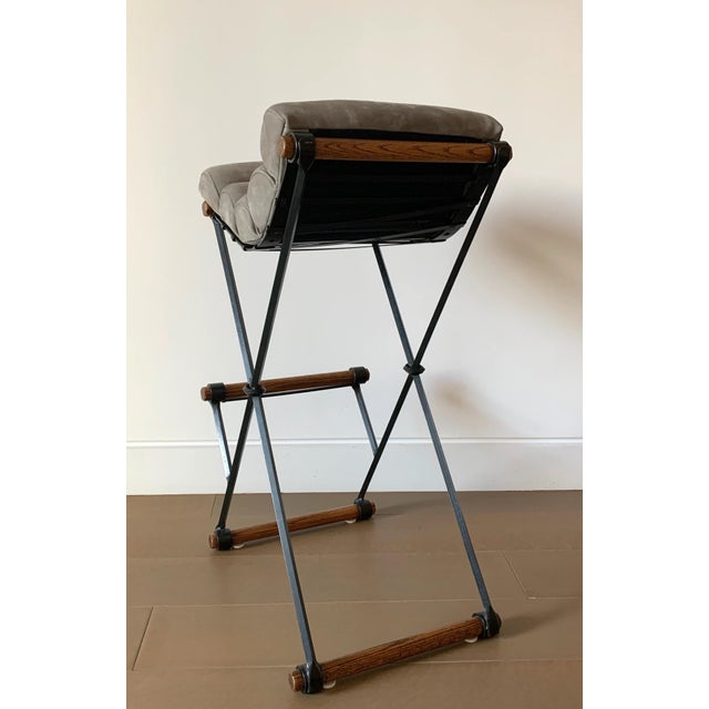 Dove Gray Cleo Baldon Iron & Suede Bar Stools - Set of 4 For Sale - Image 8 of 13