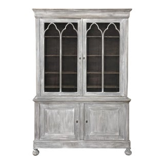 19th Century French Louis Philippe Period Whitewashed Bookcase For Sale