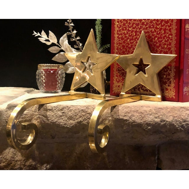 Vintage Brass Christmas Holiday Star Stocking Hooks - Set of 2 For Sale - Image 12 of 13