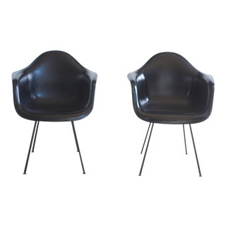 Vintage Mid Century Eames Herman Miller Naugahyde Shell Armchairs- A Pair For Sale