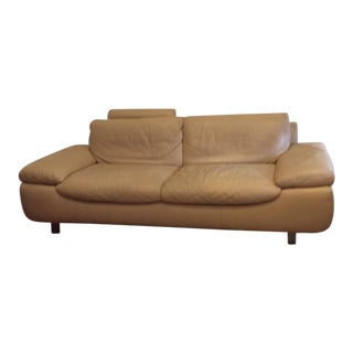 Natuzzi Modern European Style Leather Sofa For Sale