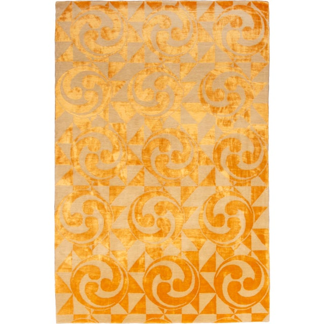 "Contemporary Hand Knotted Golden ""Kaleidoscope"" Rug For Sale - Image 11 of 11"