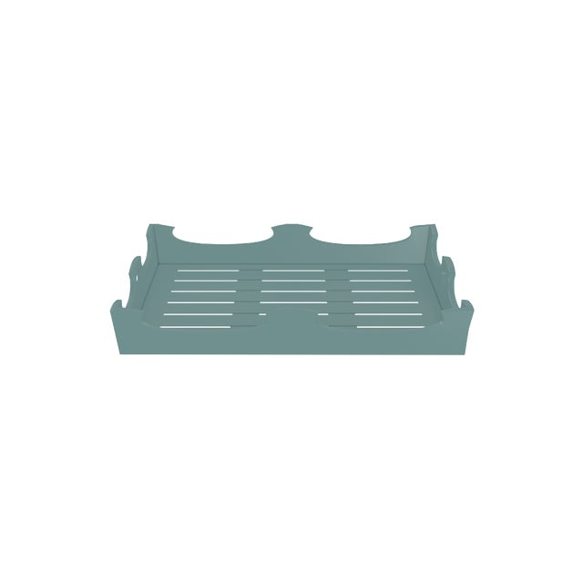 Metal Oomph Ocean Drive Outdoor Console Tray, Green For Sale - Image 7 of 8