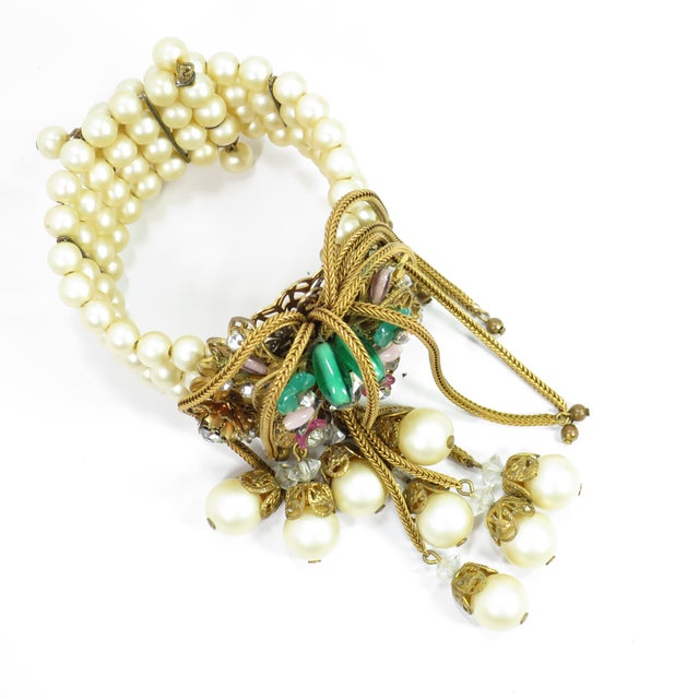 1950s Miriam Haskell Faux Pearl, Crystal, & Art Glass Cuff Bracelet For Sale - Image 9 of 13