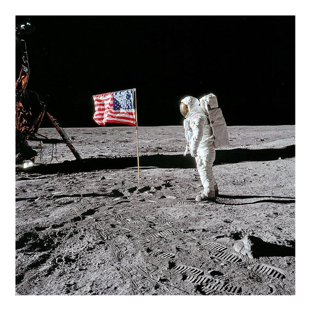 Buzz Aldrin. Apollo 11. 'Flag on the Moon' Exclusive Art Print by TASCHEN Books, Autographed by Buzz Aldrin For Sale