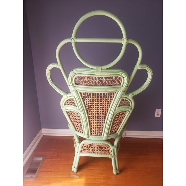 1980s Vintage Rattan Peacock Throne Chairs- A Pair For Sale In Philadelphia - Image 6 of 13