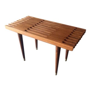 Mid Century Style Custom Walnut Slat Bench Table For Sale