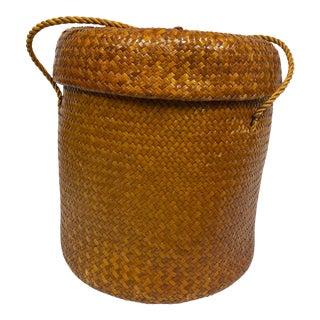 Vintage Herringbone Weave Basket For Sale