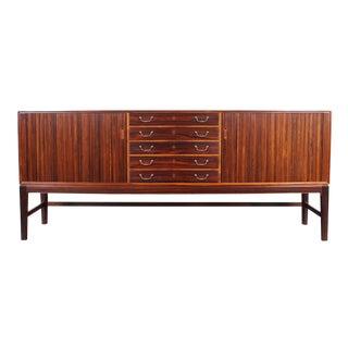 Danish Modern Rosewood Tambour Door Credenza by Ole Wanscher For Sale
