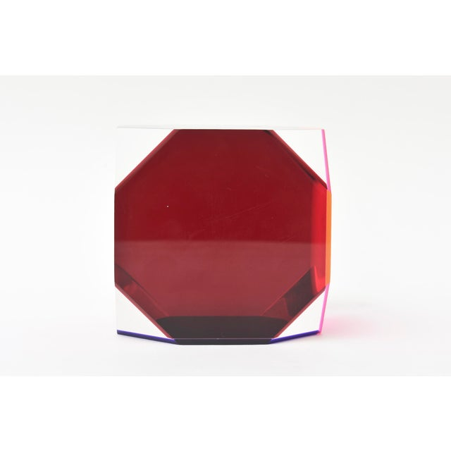 Plastic Vasa Mihich Laminated Lucite Octagonal Table Sculpture Signed and Dated For Sale - Image 7 of 8