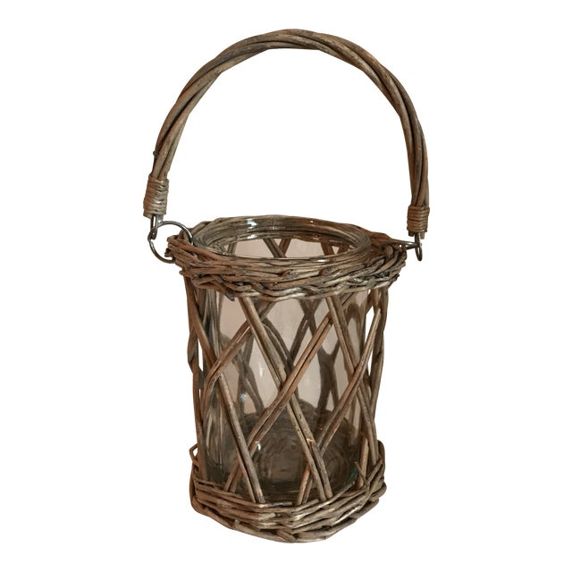 Wicker and Glass Vase With Handle For Sale