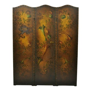 French Art Nouveau Victorian Oil Canvas Hand Painted 3 Panel Screen Room Divider For Sale