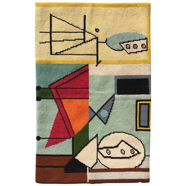 Modernist Abstract Hand-Loomed Rug or Wall Hanging After Picasso - 3′5″ × 2′5″ For Sale