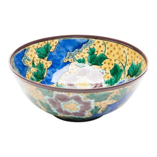 Lawrence & Scott Chinoiserie Japanese Kutani Porcelain Bowl With Floral Design For Sale