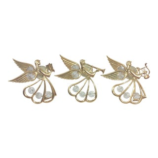 Austrian Gold Plated and Crystal Angel Ornaments - Set of 3