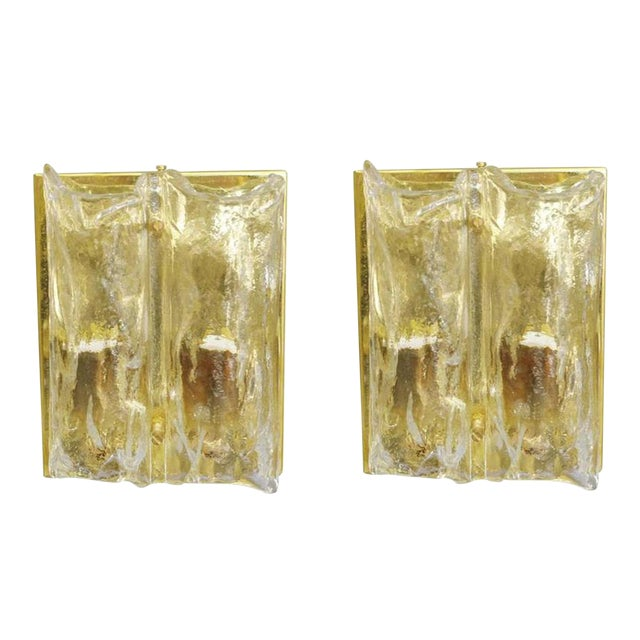 Pair of Textured Sconces by Mazzega For Sale