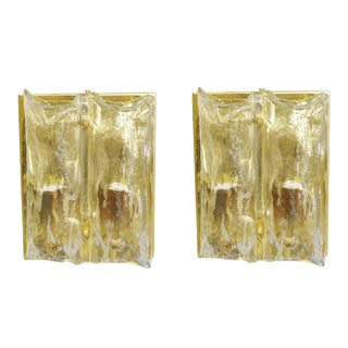 Pair of Textured Sconces by Mazzega Final Clearance Sale For Sale