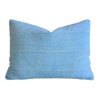 """Sky Blue African Mali Mud Cloth Textile & Velvet Feather/Down Pillow 24"""" x 18"""" For Sale"""