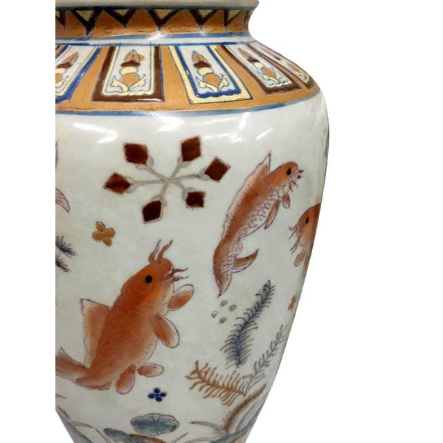 Asian Gold Fish Design Vase For Sale - Image 3 of 6
