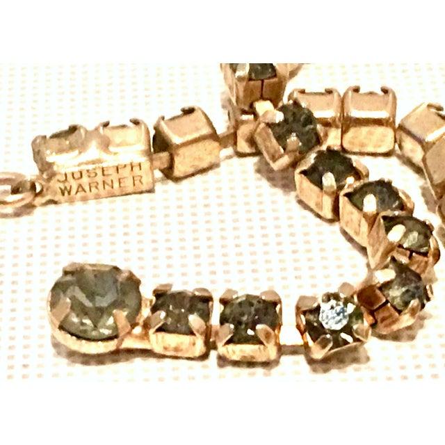 1950's Vintage Joseph Warner Gold & Swarovski Crystal Necklace and Earrings - Set of 3 For Sale - Image 10 of 12