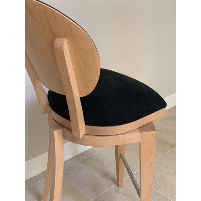 Contemporary Honey Maple & Black Suede Swivel Bar Stools by Berman Rosetti - a Pair For Sale - Image 10 of 12