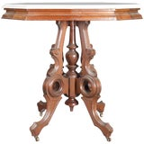 Image of 19th Century Victorian Eastlake Carved Walnut and Marble Parlor Table For Sale