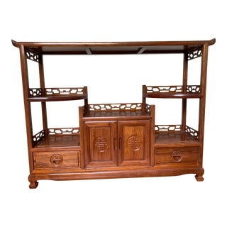 Chinese Teak Curio Display Cabinet For Sale
